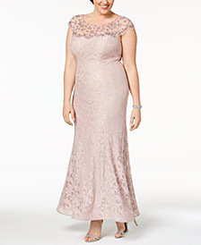 Xscape Plus Size Beaded Illusion Lace Gown