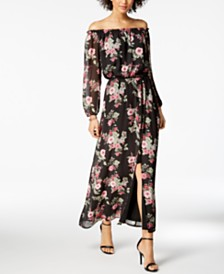 Nine West Fl Print Off The Shoulder Maxi Dress Created For Macy S