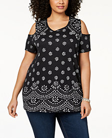 Style & Co Plus Size Cotton Cold-Shoulder Tunic, Created for Macy's