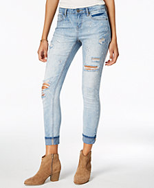 Blue Desire Juniors' Ripped Embellished Cuffed Skinny Jeans