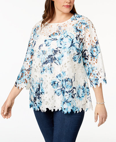 Charter Club Plus Size Floral-Print Lace Top, Created for Macy's