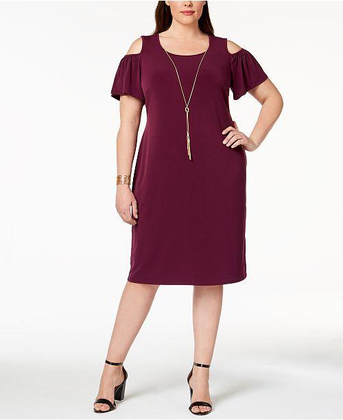JM Collection Plus & Petite Plus Size Cold-Shoulder Dress ...
