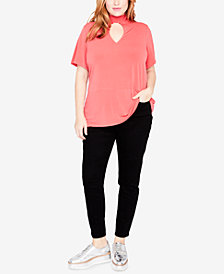 RACHEL Rachel Roy Trendy Plus Size Mock-Neck Keyhole Top