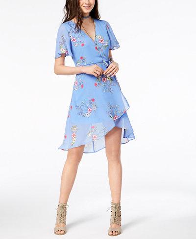 Sequin Hearts Juniors' High-Low Wrap Dress