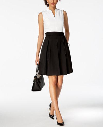 Ellen Tracy Petite Colorblocked Split-Neck Dress