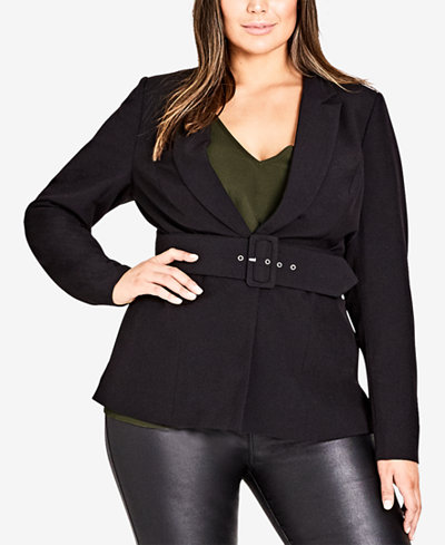 City Chic Trendy Plus Size Belted Blazer