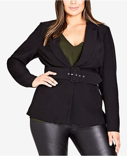a25bb184a16 City Chic Trendy Plus Size Belted Blazer - Jackets   Blazers - Plus ...