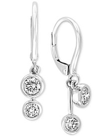 EFFY® Diamond Bezel Drop Earrings (1/2 ct. t.w.) in 14k White Gold