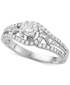 Diamond Openwork Design Engagement Ring (3/4 ct. t.w.) in 14k White Gold