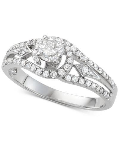 Diamond Openwork Design Engagement Ring (3/4 ct. t.w.) in 14k White Gold