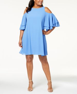 Jessica Howard Plus Size Cold-Shoulder Ruffle Dress 5629037