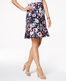 NY Collection Petite Printed Peplum-Hem Skirt