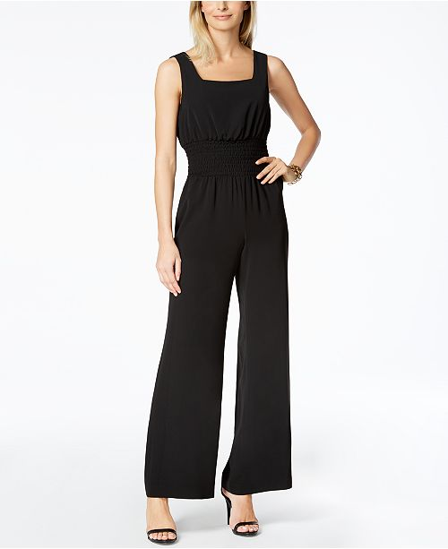 28a185a1f0a Nine West Smocked Jumpsuit   Reviews - Pants   Capris - Women - Macy s