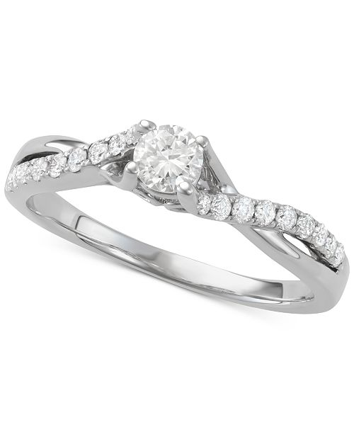 Macy's Diamond Twist Engagement Ring (5/8 ct. t.w.) in 14k White Gold