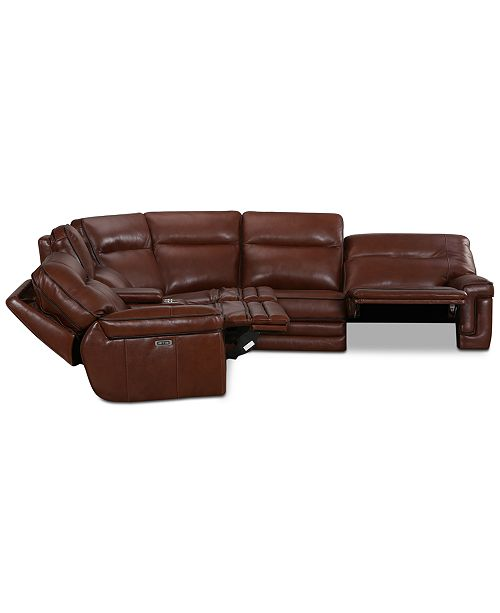 Strange Myars 6 Pc L Shaped Leather Sectional Sofa With 3 Power Recliners Power Headrests And Console With Usb Power Outlet Created For Macys Download Free Architecture Designs Aeocymadebymaigaardcom