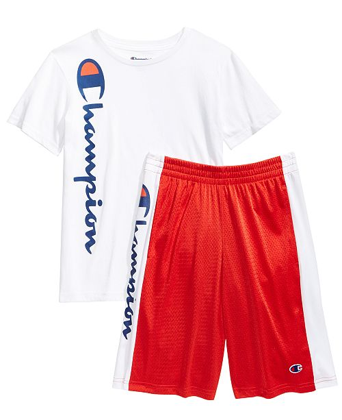 054c29e03 Champion Heritage Logo-Print T-Shirt & Script Shorts, Big Boys ...