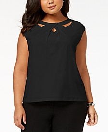 Plus Size Crossover Cutout Top