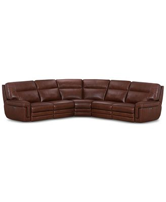 Furniture Myars 5 Pc L Shaped Leather Sectional Sofa With 2 Power