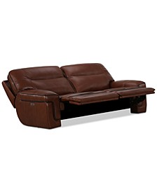 "CLOSEOUT! Myars 84"" 2-Pc. Leather Sectional Sofa With 2 Power Recliners, Power Headrests And USB Power Outlet, Created for Macy's"