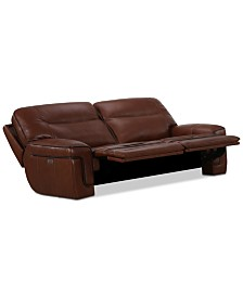 "Myars 84"" 2-Pc. Leather Sectional Sofa With 2 Power Recliners, Power Headrests And USB Power Outlet, Created for Macy's"