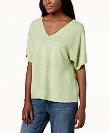 Eileen Fisher Organic Linen Dolman-Sleeve Sweater, Regular & Petite