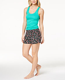 Jenni by Jennifer Moore Lace-Trim Tank Top & Printed Boxer Shorts Sleep Separates, Created for Macy's