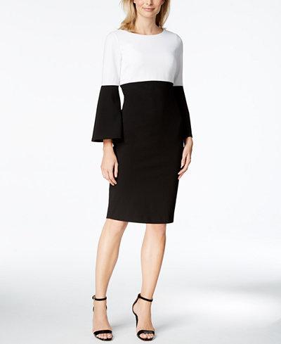 Calvin Klein Colorblocked Bell-Sleeve Sheath Dress