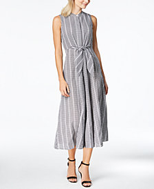 Calvin Klein Cotton Gingham-Print Tie-Front Maxi Dress
