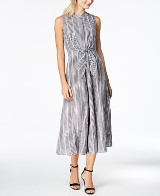 Calvin Klein Cotton Gingham Print Tie Front Maxi Dress Dresses