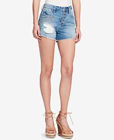 Jessica Simpson Juniors' Ranger Cotton Ripped High-Waist Denim Shorts