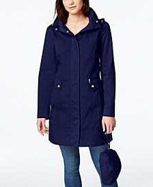 Petite Packable Hooded Water-Resistant Raincoat
