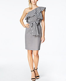 Calvin Klein Gingham One-Shoulder Flounce Dress