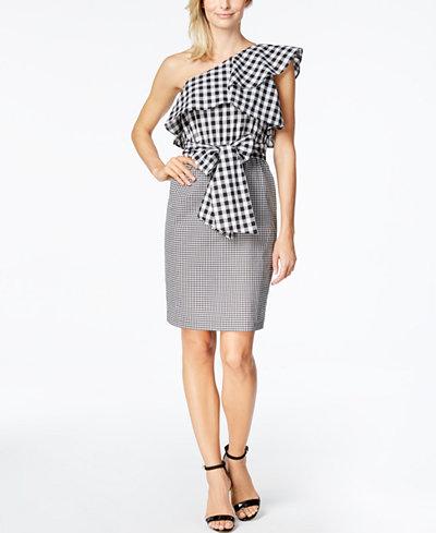 Calvin Klein Gingham One-Shoulder Flounce Dress