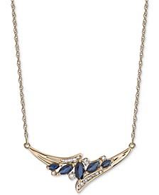 "Sapphire (1 ct. t.w.) & Diamond (1/6 ct. t.w.) 17"" Statement Necklace in 14k Gold"