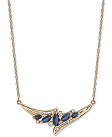 "Sapphire (1 ct. t.w.) & Diamond (1/6 ct. t.w.) 17"" Statement Necklace in 14k Gold"