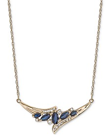 "Sapphire (1 ct. t.w.) & Diamond (1/6 ct. t.w.) 17"" Statement Necklace in 14k Gold (Also Available in Emerald & Ruby)"