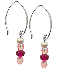 Jody Coyote Faceted Czech Glass Bead Drop Earrings in Sterling Silver & Silver-Plate