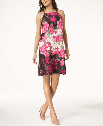 Alfani Petite Floral-Print Halter Shift Dress, Created for Macy's