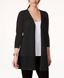 Alfani Petite Illusion-Stripe Cardigan, Created for Macy's