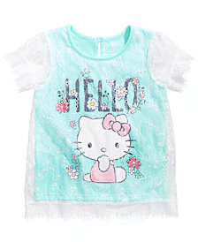 Hello Kitty Lace Overlay T-Shirt, Little Girls