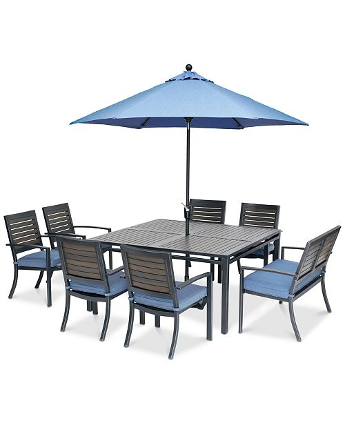 Harlough II 8-Pc. Outdoor Dining Set (62 Square Dining Table, 6 Dining  Chairs and 1 Dining Bench) with Sunbrella® Cushions, Created for Macy\'s