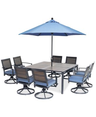 """Harlough II 9-Pc. Outdoor Dining Set (62"""" Square Dining Table and 8 Swivel Rockers) with Sunbrella® Cushions, Created for Macy's"""