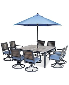 "Harlough II 9-Pc. Outdoor Dining Set (62"" Square Dining Table and 8 Swivel Rockers) with Sunbrella® Cushions, Created for Macy's"