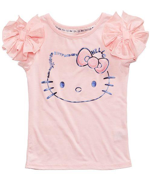 909b25a5f Hello Kitty Rogue-Bow Kitty-Face T-Shirt, Little Girls & Reviews ...