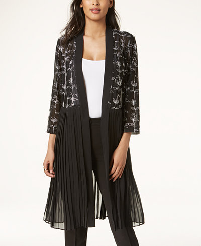 Alfani Embroidered Pleated Jacket, Created for Macy's