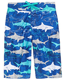 Laguna Shark-Print Swim Trunks, Big Boys
