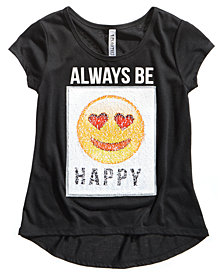 Beautees Big Girls Reversible Sequin Emoji T-Shirt