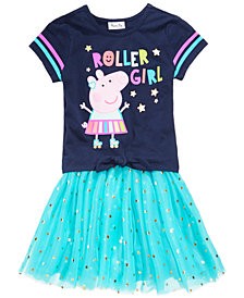 Peppa Pig 2-Pc Printed T-Shirt & Foil Star Skirt Set, Little Girls