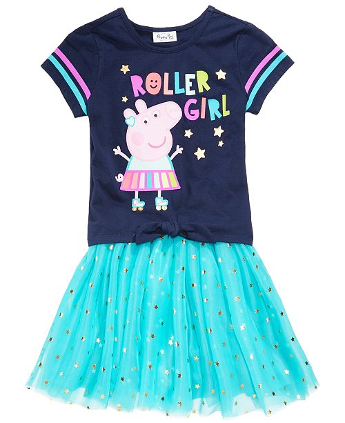 199cded00 Peppa Pig 2-Pc Printed T-Shirt & Foil Star Skirt Set, Little Girls ...