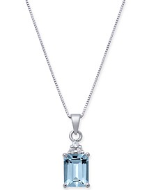 "Aquamarine (1-5/8 ct. t.w.) & Diamond Accent 18"" Pendant Necklace in 14k White Gold"